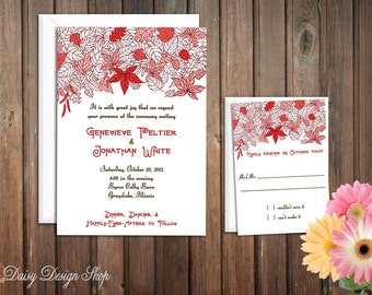 Wedding Invitation - Autumn Leaves Sketch in Red Fall Shades - Invitation and RSVP Card with Envelopes