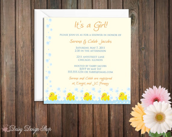 Baby Shower Invitation - Blue and Yellow Rubber Duckies