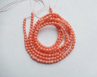 3mm  Salmon  coral faceted round beads , full strand