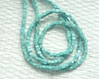 Turquoise cube beads , chalk turquoise(4x4mm), FULL STRAND