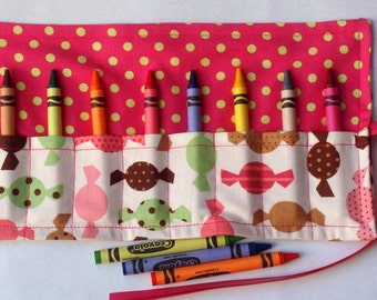 Crayon Roll Up Crayon Holder Dessert Party Hard Candy Vanilla - Holds 8 Crayons
