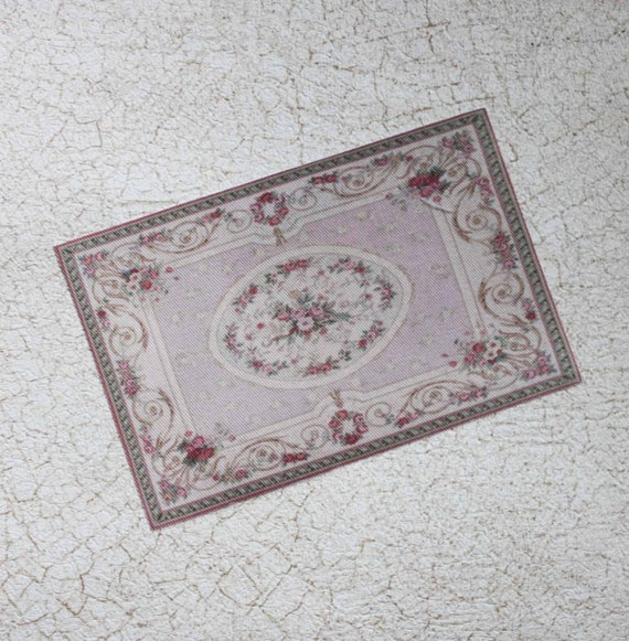 Miniature Aubusson Rug In Pale Pink With Rose And Daisy