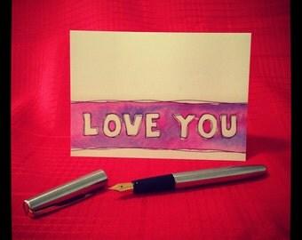 LOVE YOU watercolour stripe Greeting Card - single