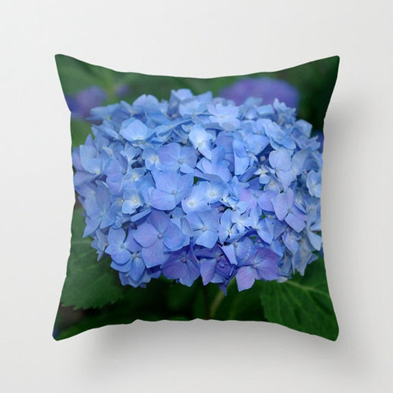 Blue Hydrangea Throw Pillow : Blue hydrangea throw pillow cover all occasion gift Endless