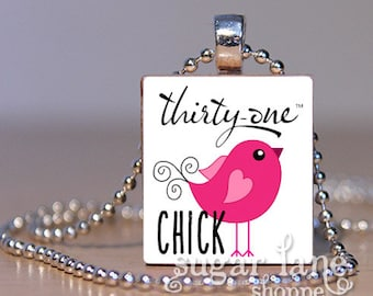 Thirty-One Chick Necklace - Pink, Black, White - Scrabble Tile Pendant with Chain