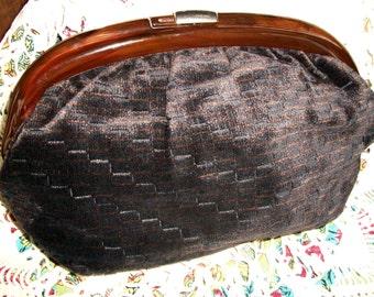 Vintage ITALIAN CLUTCH, Chenille Fabric Tortoiseshell LUCITE Handle w/Sliding Clasp, Amazing Piece, Excellent Condition, European Fashion
