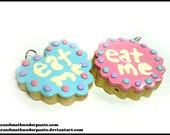 Eat Me Cookie Necklace, Alice, Wonderland, Wonderland Cookies, Handmade Pastel.