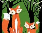 iOTA iLLUSTRATION - Two Fine Foxes - childrens animal art poster print