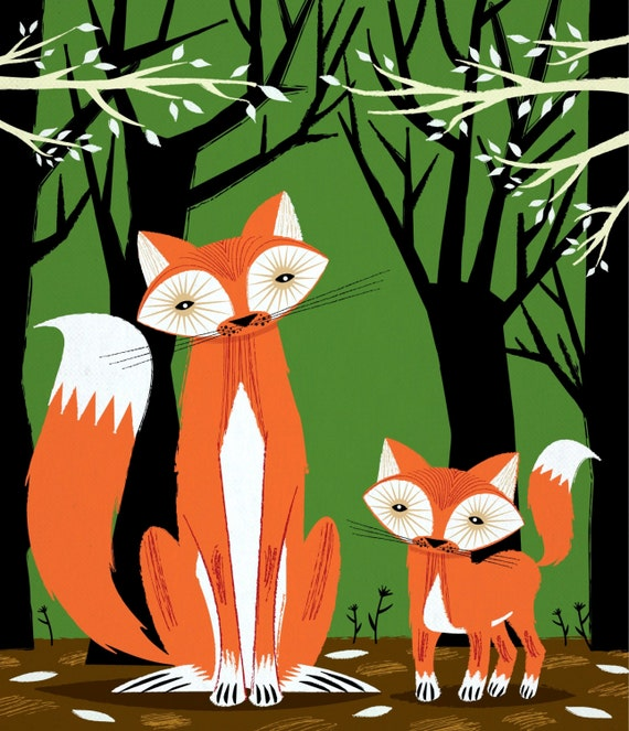 iOTA iLLUSTRATION - Two Fine Foxes - childrens animal art poster print