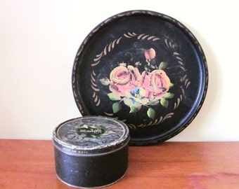 Vintage Cosmetic Tin, Boncilla Face Powder, Black Container with Hummingbird, Antique, French Country, Cottage Chic