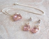 Pink Necklace Earrings Set Checkerboard Cut Silver Plated Vintage V0454