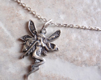 Fairy Necklace Earrings Set Faerie Pixie Fantasy Folklore Sterling Silver Vintage AT0006