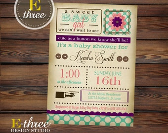 Printable Baby Shower Invitation - Shabby Chic Baby Shower Invitation - Vintage Invitation - Cute as a button baby shower