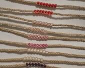 5 Hemp Beaded Wish Anklet/Bracelet Stocking Stuffers - You Pick Color