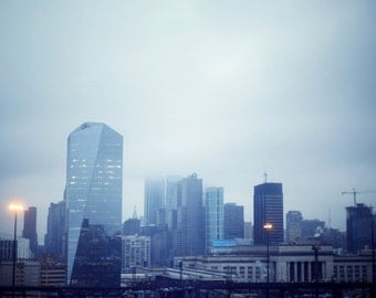 Philly in Blue - 8x10 Fine Art Photograph, Philadelphia, City, Skyline, Urban, Cloudy