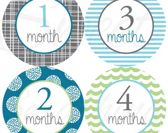 Monthly Stickers for Boys- Blue Gray and Mint - Months 1 to 12 - Milestone Stickers - Boy Stickers - First Year Stickers - Baby Shower Gift
