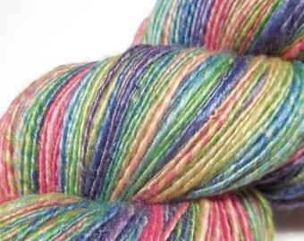 Handspun handpainted extra fine merino with bamboo thick and thin single ply yarn - 103g (3.6oz) - Faded rainbow