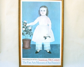 Portrait of a Young Girl with Flowers San Francisco Fine Arts Poster Framed 1982 Printed in Italy