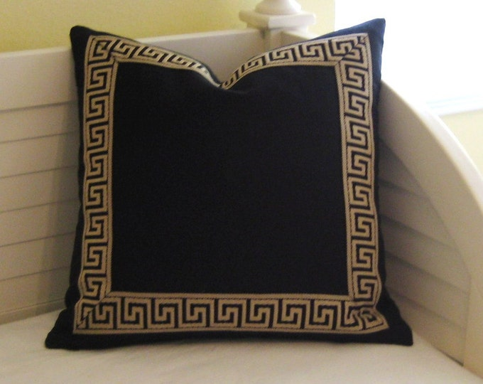 Greek Key Black Linen Designer Pillow Cover - Choice of Trim Color - Square and Euro Sizes