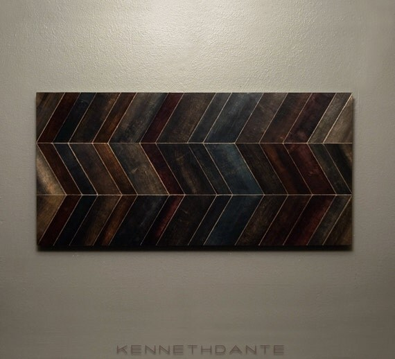 Chevron Wood Wall Decor : Reclaimed wood art chevron mosaic wall hanging by kennethdante