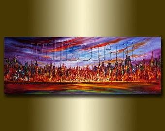 Modern City Cityscape Painting Oil on Canvas Palette Knife Textured Abstract Original Art 15X40 by Willson Lau