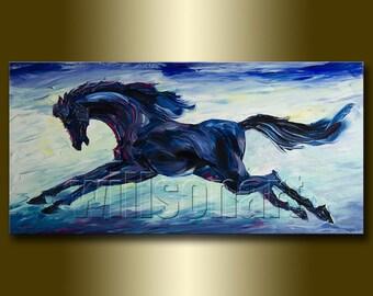 Running Horse Animal Oil Painting Textured Palette Knife Modern Original Art Horse Portrait 20X40 by Willson Lau