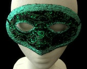 Green Masquerade Mask, One of a Kind Masquerade Ball Mask with Glitter, Beads, Sequins and Embroidery,Free US Shipping