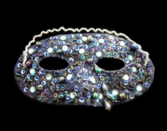 Blue Beaded Masquerade Ball Lace Mask, Glamorous Glimmering Blue Hand Beaded Mask, Free US Shipping