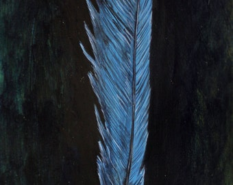 Blue Jay Bird Feather Painting