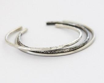 Three Minimalist Sterling Silver Cuff Bracelet, Modern silver bracelet