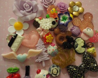 Sale--Kawaii cabochon decoden diy charm mix   89   more than 30 pcs---USA seller