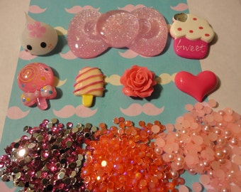 Kawaii decoden phone cabochon deco diy charm pink bow and teardrop kit  127--USA seller
