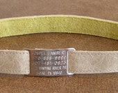 Leather Custom Tag Collar for Greyhounds - Shimmering Sand