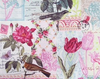 Belle Rose Collage Print Pure Cotton Fabric from Michael Miller--One Yard