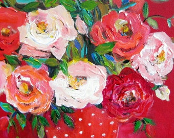 Red Still life Floral Original Painting 12 x 16  Art by Elaine Cory