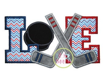Hockey Love  Applique Design For Machine Embroidery INSTANT DOWNLOAD now available