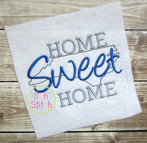 Home sweet north carolina embroidery design for