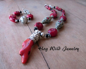 Handcrafted Artisan Necklaces, Red Bamboo Coral Tibetan Pendant Necklace, Women' Statement Necklace