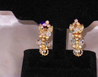 Vintage Juliana Earring Clips   Rhinestouns Crystals AB gold tone