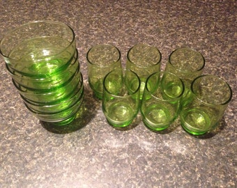 Limelight Green Juice Glasses & Sherbert Cups by Federal Glass