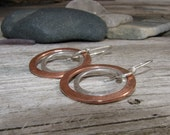 Sterling silver and copper dangle earrings, copper hoops, brass and sterling silver dangles, Hoop Earrings