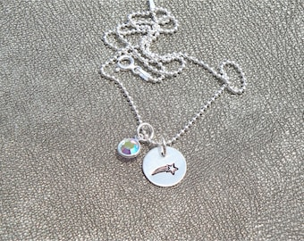 Wish Upon a Shooting Star! Hand Stamped Shooting Star Sterling Silver Necklace with Birthstone - Gifts for her