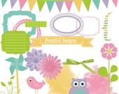 Digital Easter Clip Art Spring Frame Pinwheel Bird Owl Ribbon Banner Journaling Spot Happy Easter