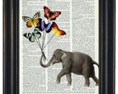 BOGO 1/2  OFF  Elephant Butterfly Print Elephant With Butterfly Balloons Dictionary Art Dictionary Print HHP Original Concept and Design