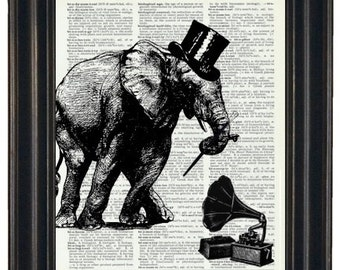 BOGO SALE Dancing Elephant with Record Player Dictionary Art Print Wall Decor Dictionary Print