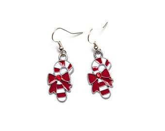 Candy cane dangle earrings with red rhinestone