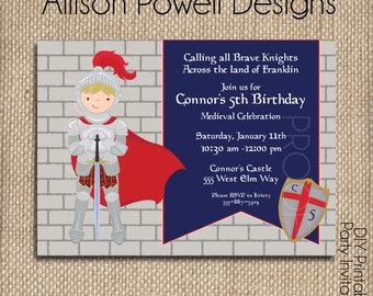 Brave Knight, Dragon, Medieval Birthday Party Package - Printable Birthday Party Invitation