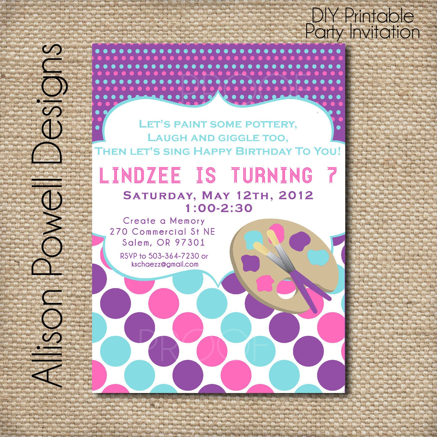 Girls Paint Birthday Party Invitation Pink and Purple Custom