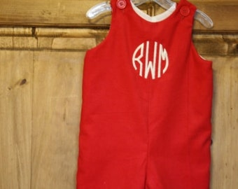 Boys red corduroy longall with monogram