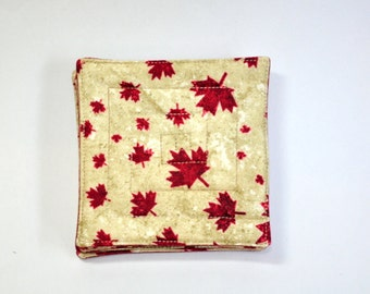 Fabric Coasters Canada Maple Leaf theme Set of 8  Reversible Man cave Style